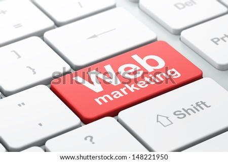 SEO web design concept: computer keyboard with word Web Marketing, selected focus on enter button background, 3d render