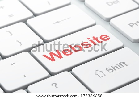 SEO web design concept: computer keyboard with word Website, selected focus on enter button background, 3d render