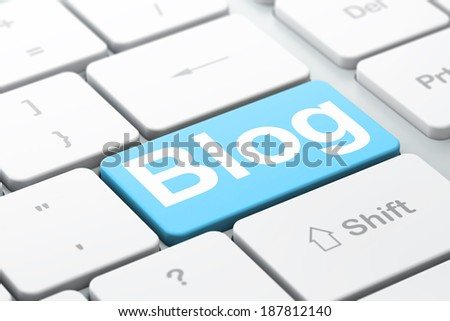 SEO web development concept: computer keyboard with word Blog, selected focus on enter button background, 3d render