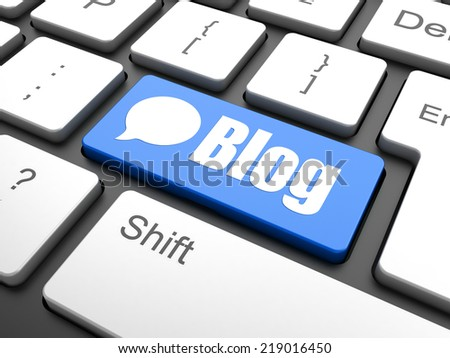 SEO web development concept: computer keyboard with word Blog, selected focus on enter button background, 3d render - stock photo