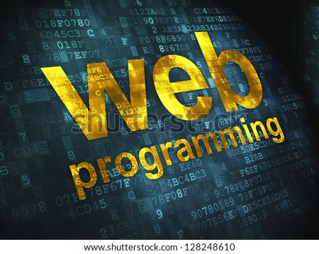 SEO web development concept: pixelated words Web Programming on digital background, 3d render - stock photo