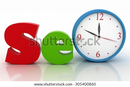 SEO with clock instead of letter. 3d illustration on white background - stock photo