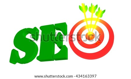 SEO with target and arrow, 3D illustration