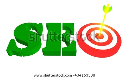 SEO with target and arrow in the bulleye, 3D illustration - stock photo