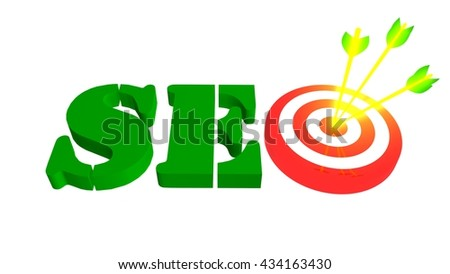 SEO with target and arrows in the bulleye, 3D illustration - stock photo