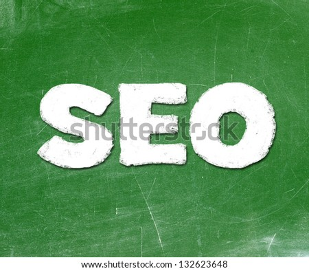 seo with words over green background - stock photo