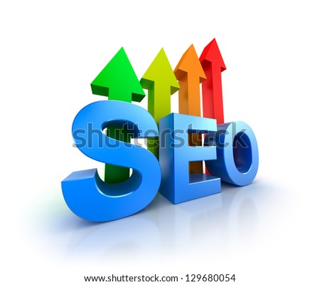 SEO word with upcoming arrows. - stock photo