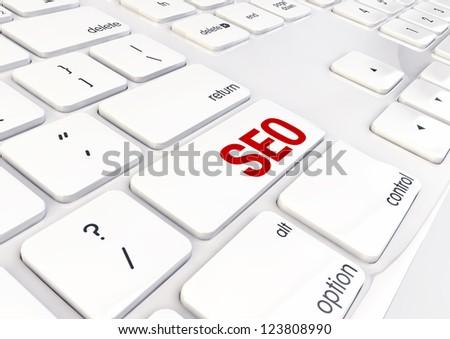 Seo Word Written on White Shiny Keyboard - stock photo