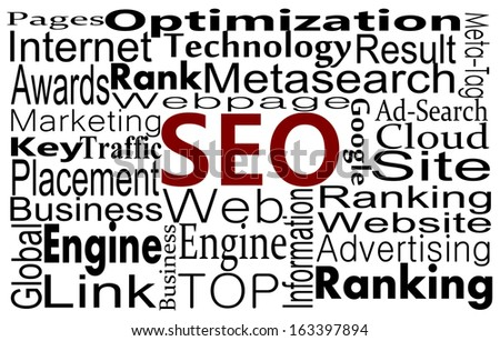 SEO words. Search Engine Optimization concept in word cloud - stock photo