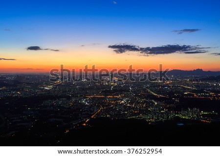 Seoul at South Korea city skyline at twilight.