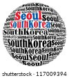 Seoul capital city of South Korea info-text graphics and arrangement concept on white background (word cloud) - stock photo
