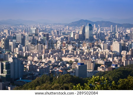 Seoul city and Downtown skyline in Sunset, South Korea - stock photo