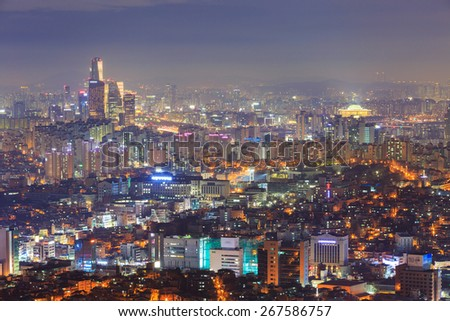 Seoul City and Yeouido at Night, South Korea.