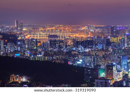 Seoul city with han river at night, South Korea.
