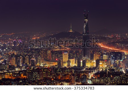 Seoul Cityscape at South Korea, skyline at twilight.