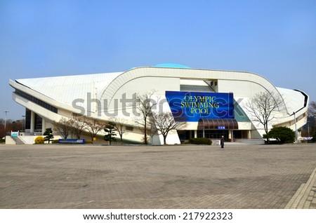 SEOUL KOREA APRIL 9:Seoul Olympic Swimming Pool Is Located In Seoul, South  Korea