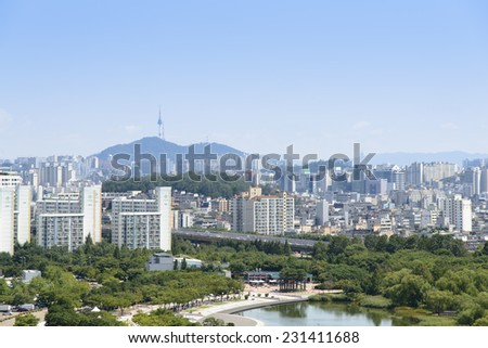 SEOUL, KOREA - AUGUST 30, 2014: World Cup Park and View of Mapo from Haneul Park in Seoul, Korea - stock photo