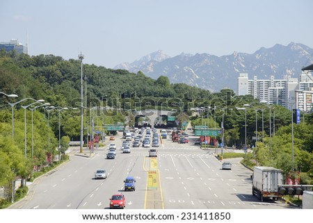 SEOUL, KOREA - AUGUST 30, 2014: World Cup Tunnel near the World Cup Stadium in Seoul
