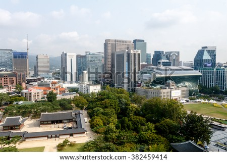 Seoul Korea. October 2014. View of the old palace inside the city