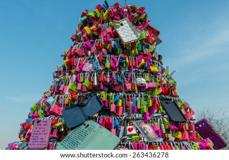 SEOUL - March 14 : Love padlocks at N Seoul Tower or Locks of love is a custom in some cultures which symbolize their love will be locked forever at Seoul Tower on  March14,2015 in seoul,Korea.