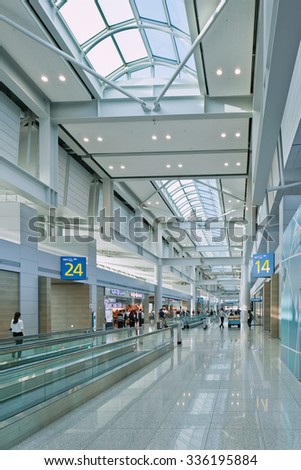 SEOUL-OCT. 24, 2015. Incheon International Airport interior. It is South Korea largest airport. Skytrax has rated it as the world's cleanest airport and the world's best international transit airport.