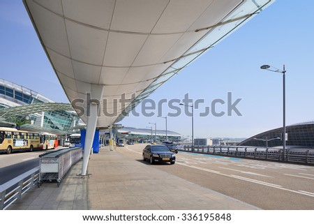 SEOUL-SEPT. 22, 2015. Incheon International Airport. It is the largest airport in South Korea, the primary airport serving Seoul Capital Area, and one of the largest and busiest airports in the world  - stock photo