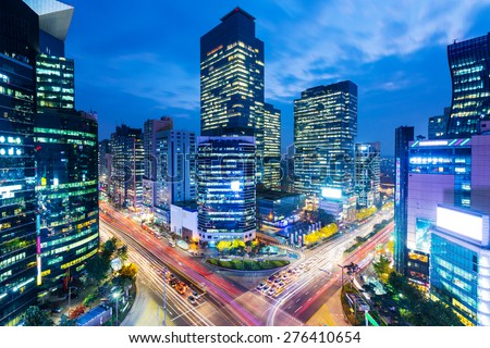 Seoul skyline at the gangnam district - stock photo