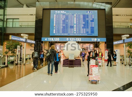 SEOUL,SOUTH KOREA - APRIL 14 : The big time board is in Incheon International Airport , the primary airport serving the Seoul National Capital Area, On April 14,2015 in Seoul South Korea.  - stock photo