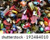 Seoul, South Korea - April 11, 2014: Thousands of love padlocks at N Seoul Tower. Locks of love is a custom in some cultures which symbolize their love will be locked forever, Seoul South Korea. - stock photo