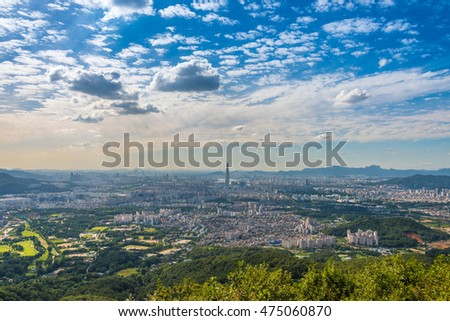SEOUL, SOUTH KOREA - AUGUST 27: The best view of South Korea with Lotte world mall at Namhansanseong Fortress on August 27, 2016 in Seoul,South Korea
