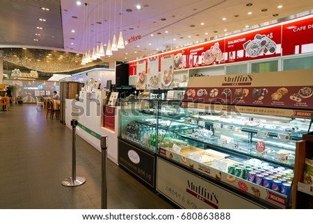 SEOUL, SOUTH KOREA - CIRCA MAY, 2017: Cafe De Specialtea's at Gimpo Airport International Terminal. Gimpo International Airport is located in the far western end of Seoul.