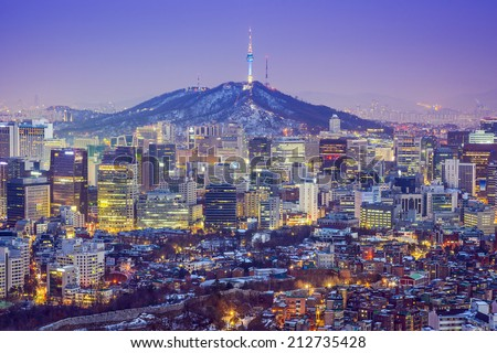 Seoul, South Korea city skyline at twilight. - stock photo