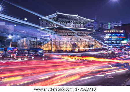 Seoul, South Korea cityscape and traffic Dongdaemun Gate. - stock photo