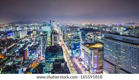 Seoul, South Korea evening skyline. - stock photo