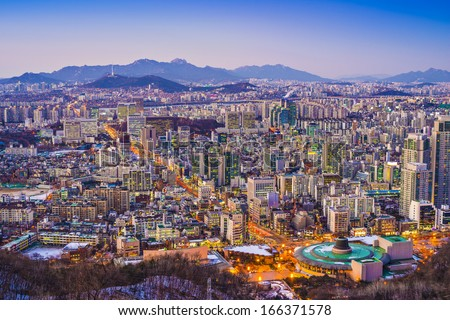 Seoul, South Korea evening skyline.