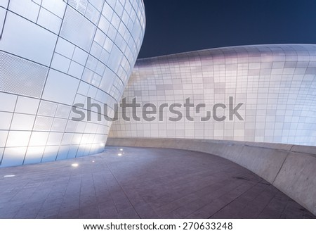 SEOUL, SOUTH KOREA - MARCH 29,2015: Dongdaemun Design Plaza at Night, New development in Seoul, designed by Zaha Hadid. Photo taken March 29, 2015 in Seoul, South Korea.