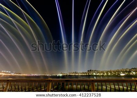 Seoul South Korea. May 2015. Banpo Bridge on Han river. Rainbow Fountain Show Pictures taken at night.