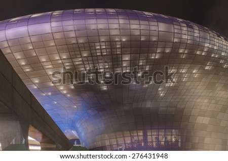 SEOUL, SOUTH KOREA -May 3 : Modern architecture at the Dongdaemun Design Plaza at Night on May 3, 2015 in Seoul, South Korea - stock photo
