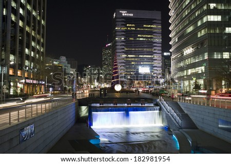SEOUL, SOUTH KOREA - NOV 10: the lighting at Cheonggyecheon stream at night on November 10, 2013, Seoul, South Korea. Cheonggyecheon is the result of a massive US$ 281 million urban renewal project.