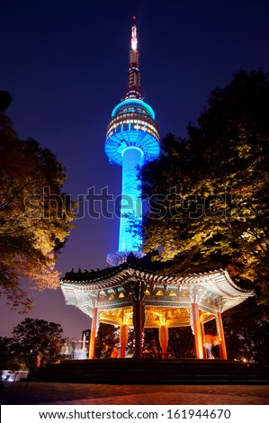SEOUL, SOUTH KOREA - OCT 30: Night view of N Seoul Tower on October 30,2013 in Seoul, Korea. Built in 1969,since then, the tower has been a landmark of Seoul.                                 - stock photo