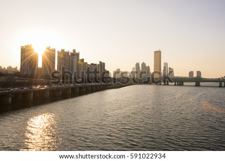 Seoul, South Korea: View of 63 building, Seoul traffic and Han river on March 1, 2017.