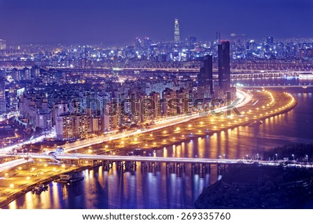Seoul Tower and Downtown skyline at night, South Korea - stock photo