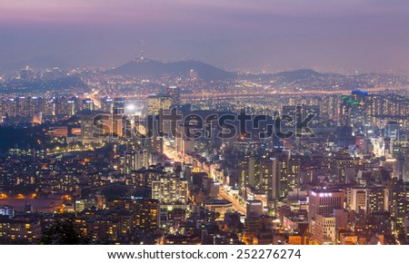 Seoul Tower and Downtown skyline in Seoul, South Korea - stock photo