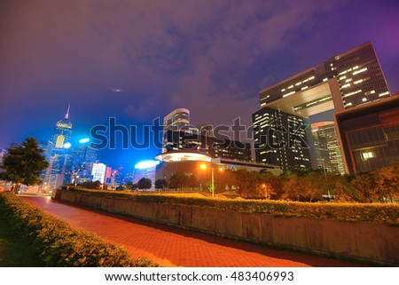 Sep 14, 2016 - Hong Kong Central District : Beautiful sunset of Hong Kong Commercial district on the eve of the storm.