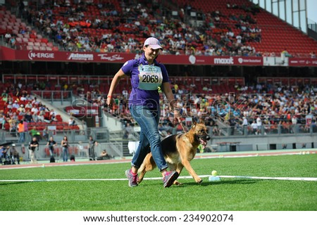 SEP 07, 2014 Nurnberg Biggest german shepherd dog show in Germany - stock photo