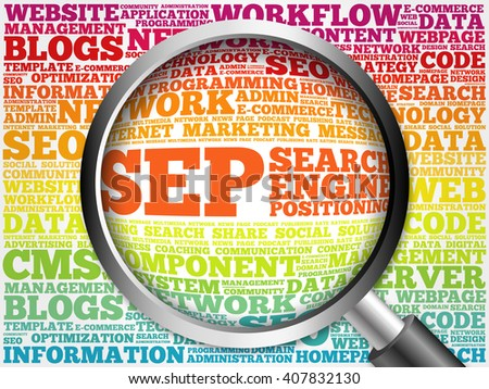 SEP (search engine positioning) word cloud with magnifying glass, business concept - stock photo