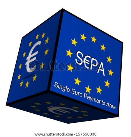 SEPA - Single Euro Payments Area - Button 3d - stock photo