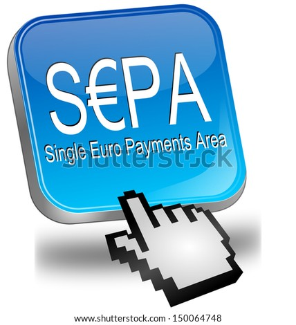 SEPA - Single Euro Payments Area - Button with cursor - stock photo