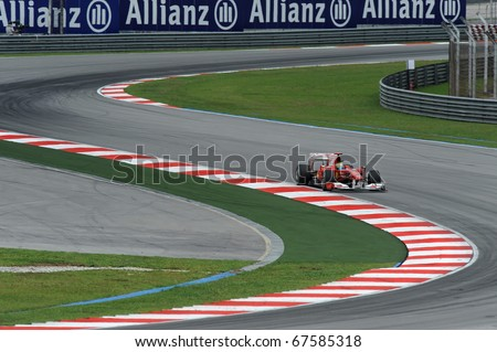 SEPANG, MALAYSIA - APRIL 2 : Ferrari Team Driver, Felipe Massa action on track in Petronas Formula One 2010 at Sepang circuit. April 2, 2010 in Sepang, Malaysia
