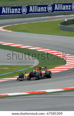 SEPANG, MALAYSIA - APRIL 2 : Red Bull Racing Team Driver, Sebastian Vettel action on track in Petronas Formula One 2010 at Sepang circuit. April 2, 2010 in Sepang, Malaysia